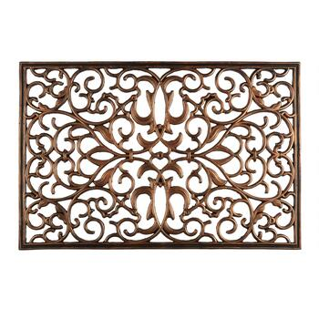 Oversized Metallic Scrolls Cutout Rubber Door Mat