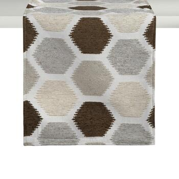 Beige/Brown Hexagon Chenille Table Runner