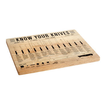 """Know Your Knives"" Wood Cutting Board view 1"