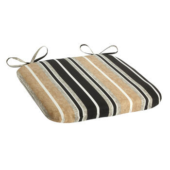 Beige/Black Stripe Indoor/Outdoor Squared Seat Pad view 1