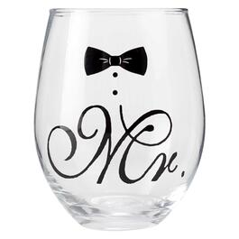 """Mr."" Stemless Wine Glass view 1"