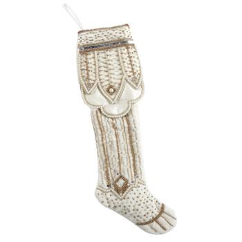 White Velvet Beaded Christmas Stocking