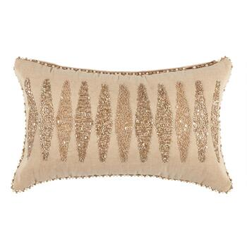 Tan Beaded Diamond Throw Pillow
