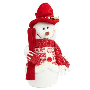 "14"" Weighted Plush Skiing Snowman Decor"