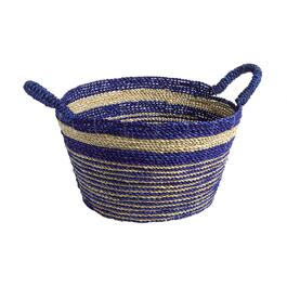 Blue Stripes Round Woven Seagrass Basket