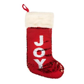 """Joy"" Red/Silver Sequined Stocking view 2"