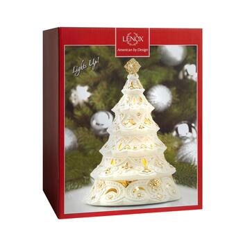 "Famous Maker 10.5"" Light-Up Christmas Tree Porcelain Figurine view 2"