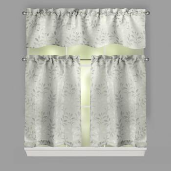 Neile Leaves Embroidered Window Tier & Valance Set