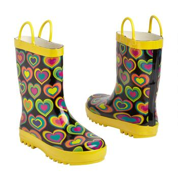 Children's Yellow Hearts Rubber Rain Boots