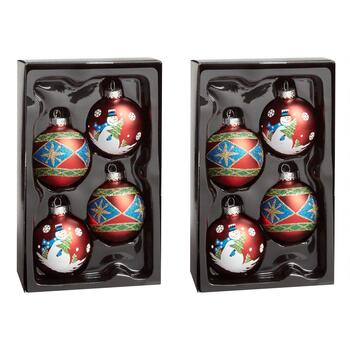 4-Count Snowman and Diamond Ornaments, Set of 2