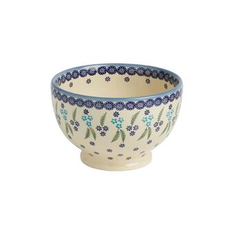 Polish Pottery Floral Fern Handmade Ceramic Footed Bowl