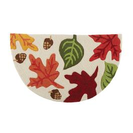 "18""x30"" Scattered Leaves Hooked Slice Area Rug"