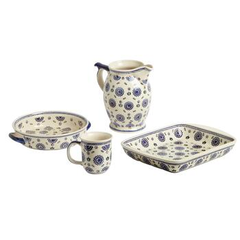Polish Pottery Geometric Flowers Dinnerware