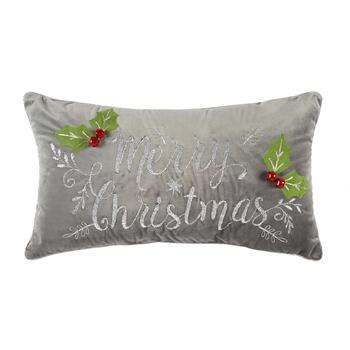 """Merry Christmas"" Gray Oblong Throw Pillow"