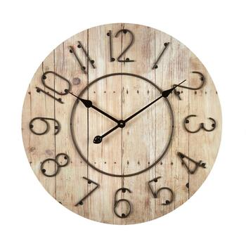 "24"" Metal/Wood Panel Round Wall Clock"