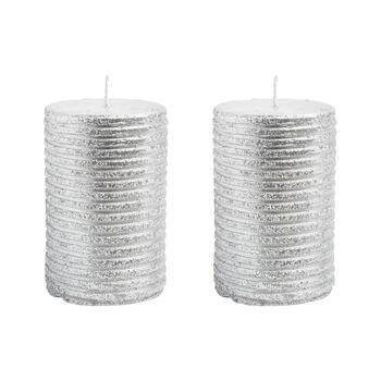 Silver Glitter Lines Pillar Candles, Set of 2 view 1