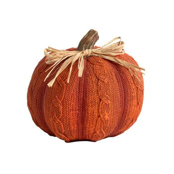 "6"" Orange Sweater Pumpkin Decor"