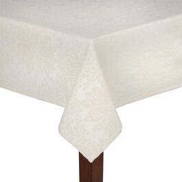 Cream Poinsettia Jacquard Cotton Tablecloth