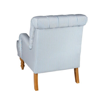 Blue/White Stripe Tufted-Back Arm Chair view 2