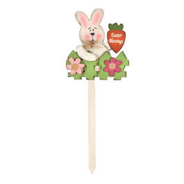 "36"" ""Easter Blessings"" Bunny Fence Wood Garden Stake view 1"
