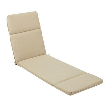 Solid Beige Woven Indoor/Outdoor Hinged Chaise Chair Pad view 1