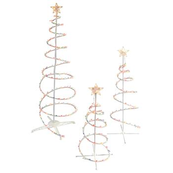 Decorative Lighted Spiral Indoor/Outdoor Trees, Set of 3 - Decorative Lighted Spiral Indoor/Outdoor Trees, Set Of 3 - Christmas