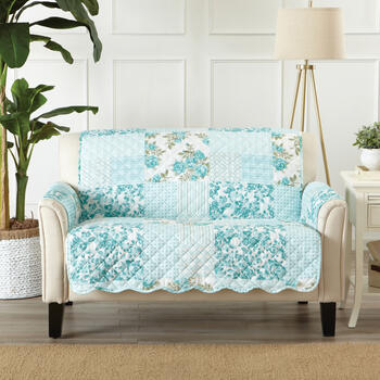 Reversible Blue Floral Print Quilted Loveseat Furniture Protector