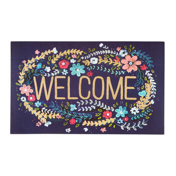 """Welcome"" Floral Wreath All-Weather Door Mat view 1"