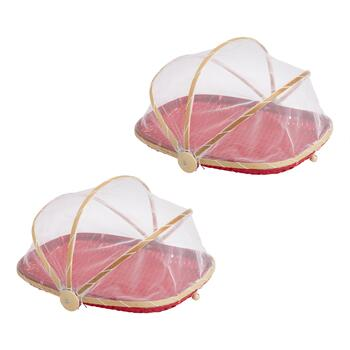"13"" Screen-Covered Bamboo Food Serving Baskets, Set of 2"