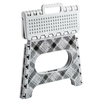Gray Plaid Folding Step Stool view 2