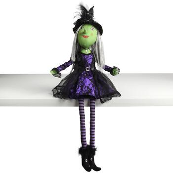 "29.5"" Purple Dress Sitting Witch"