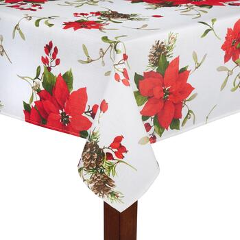 Red Poinsettia and Pinecone Tablecloth
