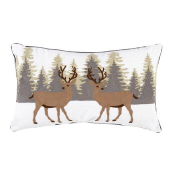 Reindeer Pair Crewel Cotton Oblong Throw Pillow