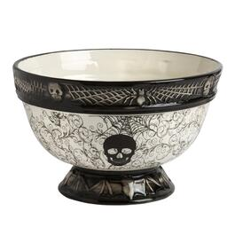 Black & White Halloween Icons Ceramic Punch Bowl