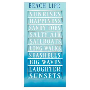"23.75"" Ombre Blue ""Beach Life"" Shutter Wall Sign"