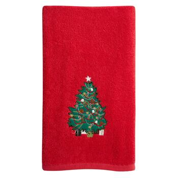 Red Christmas Tree Cotton Bath Towel