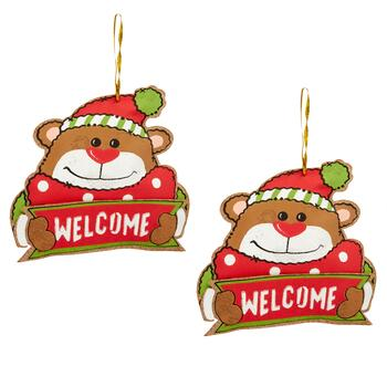 """Welcome"" Bear Hanging Musical Gift Card Holders, Set of 2"