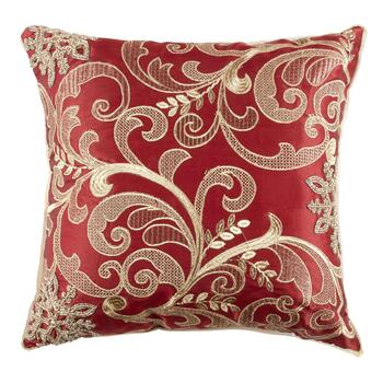 Red/Gold Embellished Scroll Square Throw Pillow