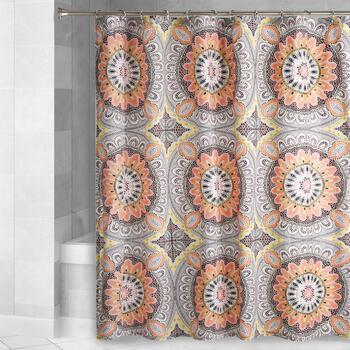 Gray Orange Medallion Shower Curtain