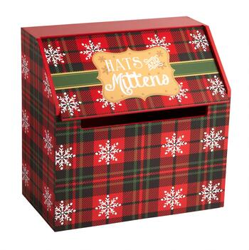 "Snowflake Plaid ""Hats and Mittens"" Storage Box"