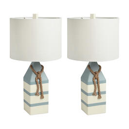 "26"" Blue/White Stripe Buoy Table Lamps, Set of 2 view 1"