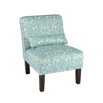 Aqua Briar Upholstered Accent Chair with Pillow