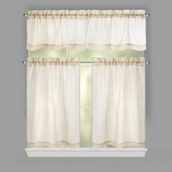 Alexandria Embroidered Window Tier & Valance Set