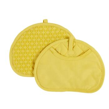 Yellow Silicone Pot Mitts, Set of 2