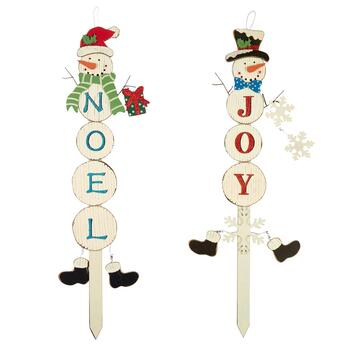 "38"" ""Joy"" and ""Noel"" Snowman Yard Stakes Set"