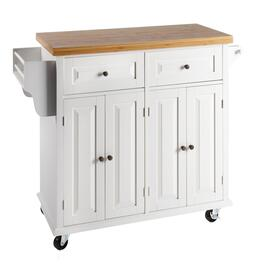 4-Door/2-Drawer Bamboo Top Rolling Kitchen Island