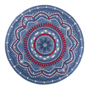 Blue/Red/White Medallion All-Weather Rug view 4