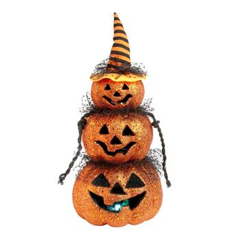 "19"" Glittered LED Jack-O-Lantern Stack with Witch's Hat"