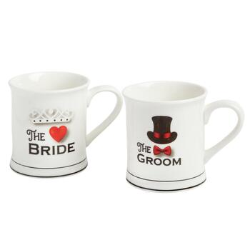 """The Bride"" and ""The Groom"" Mug Set"