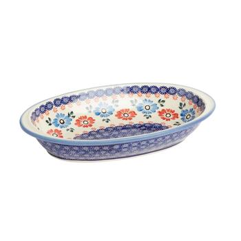 Polish Pottery Floral Oval Vegetable Bowl view 2